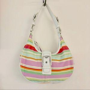 Coach Hampton Multi Color Stripe Hobo Shoulder Bag